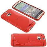 Tasche für HTC One M8 (2014) Welle Gummi TPU Schutz Handytasche rot