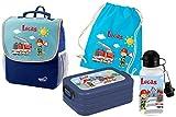 Mein Zwergenland Set 5 Kindergartenrucksack mit Brotdose, Turnbeutel aus Baumwolle und Trinkflasche Happy Knirps Next mit Name Feuerwehr, 4-teilig, Blau