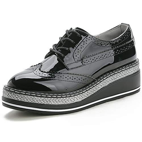 YORWOR Zapatos de Cordones Brogue Derby Mujer Cuña Oxford de Cuero Plataforma 5cm Negro Charol Size EU 38
