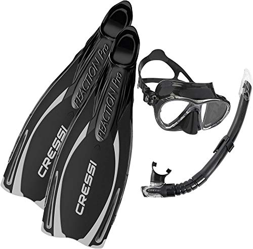Cressi Reaction Pro Palme chaussante de Snorkeling/Plongée + Masque Big Eyes Evolution + Gamma Tuba de Plongée/Natation