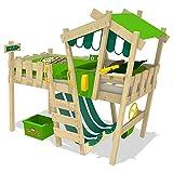 WICKEY Kinderbett CrAzY Hutty Hochbett mit Dach Abenteuerbett mit Lattenboden, apfelgrün-grün