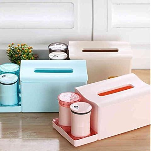 Cajas de tejidos de la manera europea creativa de plástico hogar bombeo cartón bastoncillo de algodón caja palillo de dientes cuadro de combinación suite ( Color : Verde )