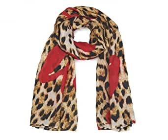 Ladies Animal and Heart Print Scarf Grey and Red Fashion Accesory