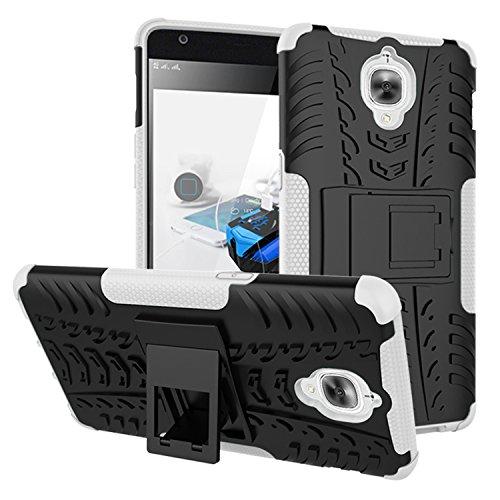 GOZAR Funda OnePlus 3T, Carcasa One Plus 3/3T Protectora Antigolpes Armadura Doble Capas a Prueba de Choques Caída Protección Robusto Case con Soporte Color Blanca