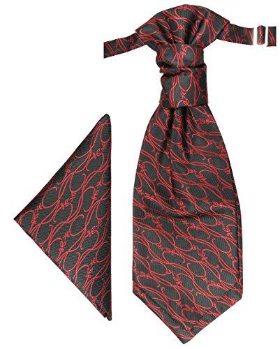 Paul Malone Plastron Set schwarz rot 2tlg Plastron mit Einstecktuch