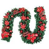 9 Piedi Verde artificiale Ghirlanda di abete, Ghirlanda di Natale Ghirlande di pino di Natale per la festa nuziale Ornamenti per porte da giardino di vacanza in giardino, Luci a batteria a Led, Rosa,