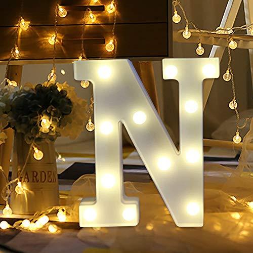 Dicomi LED Leuchte Fernsteuerung 26-Alphabet Licht Partei Hochzeit Weißem Plastikbuchstaben N-Weiß