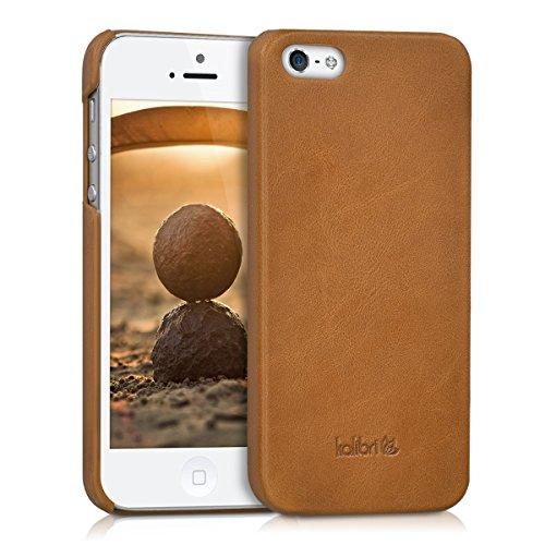 kalibri Apple iPhone SE / 5 / 5S Hülle - Leder Handy Cover Case - Hardcover Schutzhülle für Apple iPhone SE / 5 / 5S