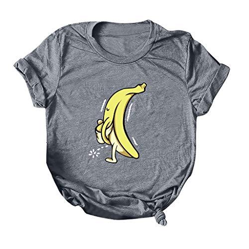 routinfly Frauen Kurzarm T-Shirt,Brief Kurzarm Damen T-Shirt O-Ausschnitt Kurzarm Plus Size T-Shirt Lässiges Top Lässiges Top mit rundem Halsausschnitt Cartoon Bananendruck M-5XL -