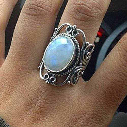 GHY Ring Mode Retro Mondstein Ring Schmuck Trendy Punk Wind Dekoration Ring Ornament,Bild,Nein.8