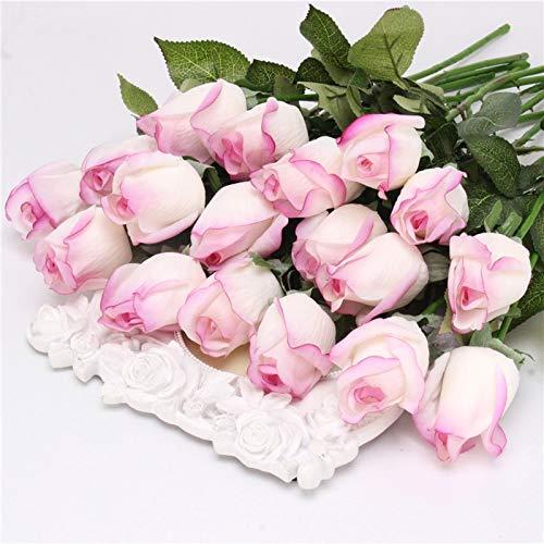 LOVEfiower Fiower Fresh Rose Kunstblumen Real Touch Rose FlowersB Lila Weiss