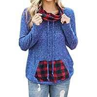 Hanomes Damen pullover, Damen Herbst Langarm Plaid Sweatshirt Pullover Bluse Tops T-Shirt preisvergleich bei billige-tabletten.eu