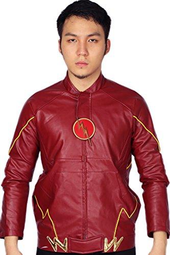 Herren Leder Jacke Cosplay Kostüm PU Sweatshirt Klassisch Rot Zip Hoodie für Erwachsene Top Kleidung Zubehör (Kostüm Flash Zoom)