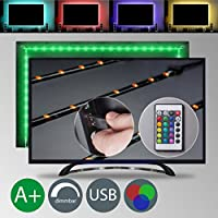 TV LED Beleuchtung - LED Stripe - LED Band Dimmbar Selbstklebend 2m 48x RGB USB Fernbedienung IP20 TV Hintergrundbeleuchtung Stripes Lichterkette Leiste Lichtleiste Bänder Farbband Lichtschlauch