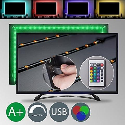 TV LED Beleuchtungs Set Dimmbar Selbstklebend Inkl. 48X RGB-LED 2m IP20 LED TV Beleuchtung TV Hintergrundbeleuchtung Stripes Lichterkette Band Streifen Leiste Lichtleiste Bänder Farbband Lichtschlauch