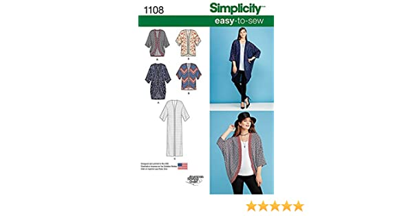 1438f6c28e5 Simplicity Ladies Easy Sewing Pattern 1108 Kimono Tops   Cardigans   American Sewing Guild  Amazon.co.uk  Kitchen   Home