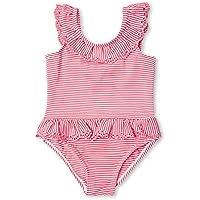 7-Mi 2 AñosTraje de Baño de Rayas Rosadas con Volantes de Una Niña Bañador de Bikini de Una Pieza