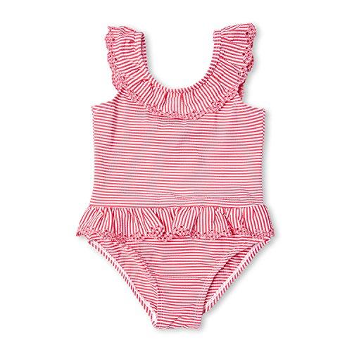 Calvin Klein Öse (7-Mi 5T kleine Mädchen Zerzauste rosafarbene gestreifte Badeanzüge Einteilige Bikini Badebekleidung)