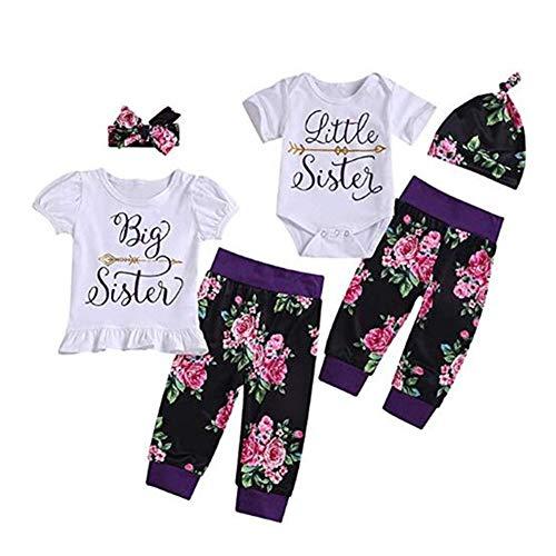 Puseky Baby Mädchen Große Kleine Schwester Passende Familie Kleidung Kurzarm Strampler + Floral Hosen + Stirnband Outfits Set (Color : White, Size : Little Sister-12M-18M)