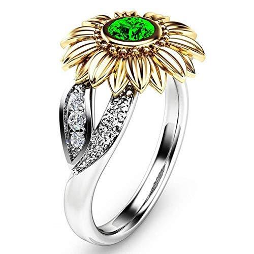 AXJa 12 Farben 925 Silber Sonnenblume Kristall Nette Romantische 14 Karat Gold Gänseblümchen Ringe Modeschmuck Ankunft Einzigartige Großhandel 5 Golden und Grün (Fünf Goldene Ringe Kostüm)