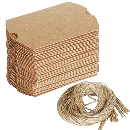 100 pz scatolina grezza per bomboniera matrimonio, set con spago - fai-da-te - crea le tue scatole a cuscino - colore marrone - da trixes