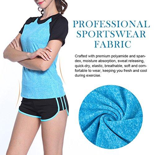 Fitibest Damen Sportwear Set,Yoga Fitness Gym Laufen T-Shirt & kurze Hose Blue