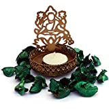 "JAIPURCRAFT Decorative Tea Light Candle Holder/Metal Candle Light Holder Table Candle Holders Spread Divine Blessing By Using Idol Laxmi Shadow Tea Light Holder For Home, Living Room (4"" X 3"")"