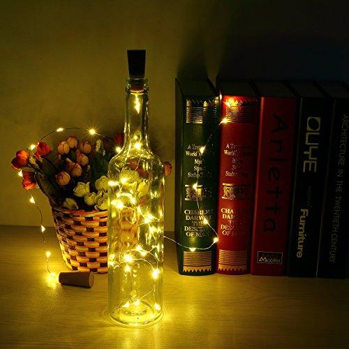 6pcs Botella Luces - 100cm botella de luz Con 20 bombillas LED, lampara botellas para la botella DIY, partido, decoración, la Navidad, Víspera de Todos los Santos, boda (Blanco cálido)