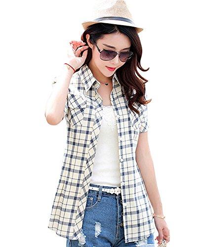 BININBOX Mädchen Damen Hemd Kurzarm Sommer Bluse Slim fit Tuniken Oberteil T-shirt Baumwolle DP88-13