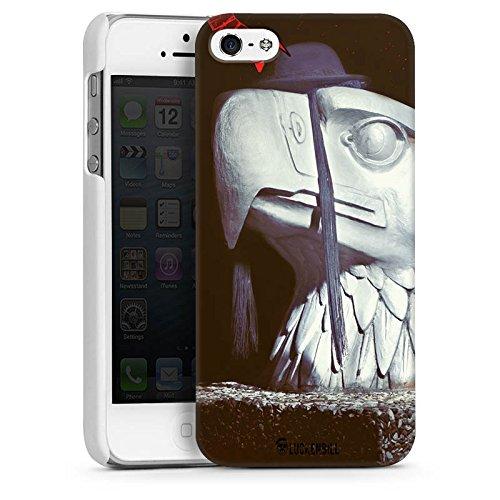 Apple iPhone 5s Housse Étui Protection Coque Robot Statue Aigle CasDur blanc