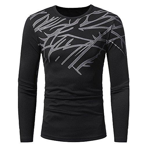KPILP Tops Men Mode Druck langärmeliges warmes T-Shirt Bluse Outwear Herbst Winter ()