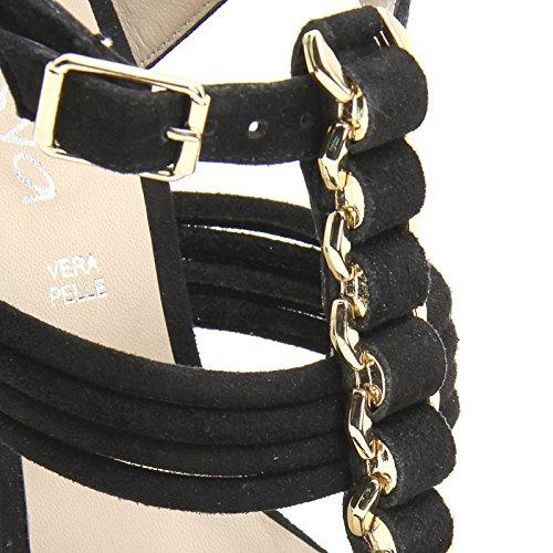 Saltos Detalhe Alesya Scarpe Com Dourado amp; Pretos Couro Cm Pateausohle 12 Scarpe Sandálias E Por Salto qnn0WwgU6x