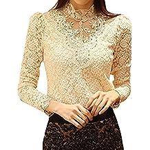 Minetom Mujer Elegante Blusa Cordón Blusa Tops con Diamante De Imitación Camisas ...