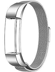 Fitbit Alta HR und Alta Armband Sport, Swees Edelstahl Uhrenarmband Mailänder Magnetschleife Edelstahlband Ersatz Armband Für Fitbit Alta HR und Alta - Silber