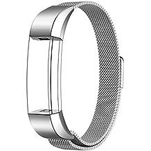Fitbit Alta HR y Alta Correa, Swees Reemplazo SmartWatch Band de Reloj de Acero Inoxidable Milanese Bucle de Cierre Pulsera para Fitbit Alta HR y Alta - Plata