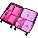 7 Set Packing Cubes - WantGor Travel Luggage Organizer Storage Bags Compression Pouches (7Set Big Rose Red)