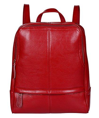 Mode Leder Laptop Rucksack,ANNA QUEEN Damen Umhängetaschen Damen Handtaschen Geldbörsen Tragetasche für unter 15,6 Zoll Macbook Ipad (Rot-WFB)