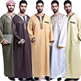 Anself Muslim Men Robes Long Sleeves Embroidered Plus Size Arab Islamic Kaftan Abaya Thawb Ramadan Prayer Clothing