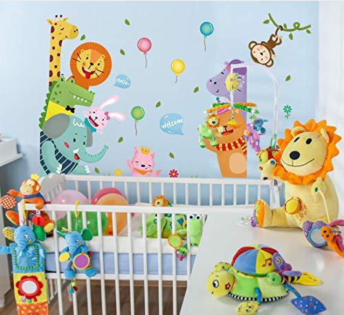 Niedlichen Cartoon Tier Wandaufkleber Willkommen Zu Tragen Elefanten Löwen Ballon Kinderzimmer Schlafzimmer Veranda Decor Tür Aufkleber Wandbilder