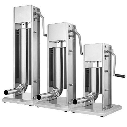 ZELSIUS Profi Wurstfüllmaschine aus Edelstahl + vier verschiedene Füllrohre, Wurstfüller in verschiedenen Größen, Wurstpresse, Wurstmaschine mit 2-Gang-Getriebe,