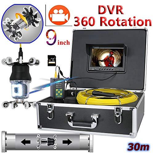 XIAODONGDONG 9-Zoll-DVR-Recorder-Rohrinspektionsvideokamera Drain-Kanal-Pipeline Industrielle Endoskopunterstützung IP68 38 LEDs 360-Grad-Drehkamera,30M -