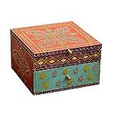 Handbemalte Schatulle Indische Holz Schmuck-Box Indian Style Schatzkiste - Geschenk für die Frau und Freundin Schmucktruhe Shanti