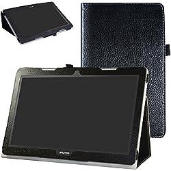 """Archos 133 Oxygen Funda,Mama Mouth Slim PU Cuero Con Soporte Funda Caso Case para 13.3"""" Archos 133 Oxygen Andorid 6.0 Tablet PC,Negro"""