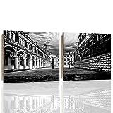 Feeby DRESDEN Mehrteilige Wandbild Deco Panel 2 Telige Bild, Größe: 80x40 cm, DEUTSCHLAND SCHLOSS ARCHITEKTUR SCHWARZ UND WEIß