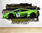 D180 Green Race Car Boys Bedroom Smashed Wall Decal 3D Art Stickers Vinyl RoomKids Bedroom Baby Nursery Cool Livingroom Hall Boys Girls