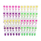 48 Wäscheklammern Soft Grip Softgrip Soft Touch Softtouch Blumen Sonnenblumen 4-farbig gelb pink grün lila