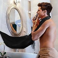 Honearn Badezimmer Schürze Rasieren Schürze Beard Bib Shaving Fellpflege Professionelle Schürze mit Saugnäpfe Haarsieb Home Salon für Herren schwarz