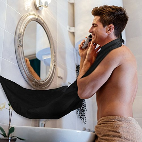 chürze Rasieren Schürze Beard Bib Shaving Fellpflege Professionelle Schürze mit Saugnäpfe Haarsieb Home Salon für Herren schwarz (Männer Bib Schürzen)