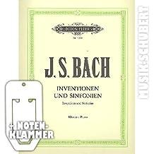inventionen y sinfonien para Piano Incluye práctica–Partituras de El estándar para el Piano Clases en clásico Edición de Entregar Ludwig País Hoff (libro de bolsillo Johann Sebastian Bach (Notas/Alemán)