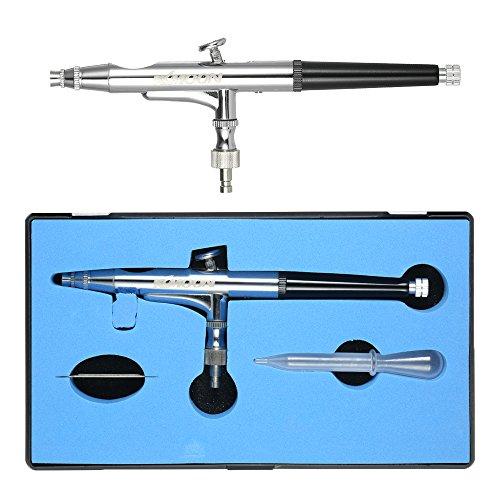 KKmoon Schwerkraft Doppelaktion Airbrush Set mit Aufbewahrungsbox, 0.25mm Airbrushpistole Sprühpistole Spritzpistole mit Nadel und Düse, Mini Schraubenschlüssel, 0.5ml Tasse, 1.5cc Pipette Silber